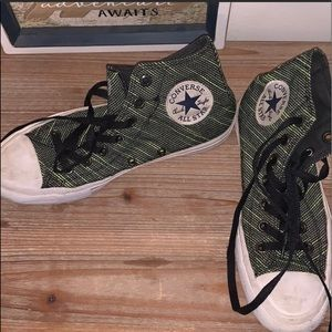 Converse high top sneakers-green and black pattern